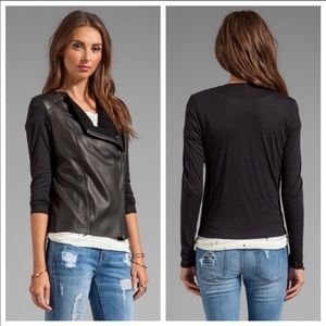 Michael stars leather zip front moto style top S